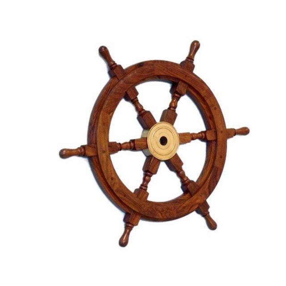 Deluxe Class Wood and Brass Decorative Ship Wheel 18in.