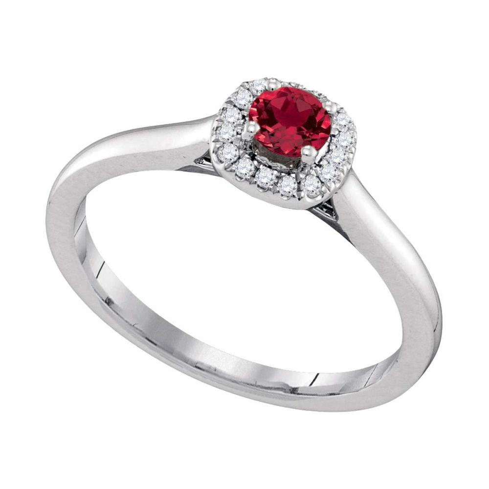 14k White Gold Round Natural Ruby Solitaire Diamond Halo Bridal Ring 1/3 Cttw