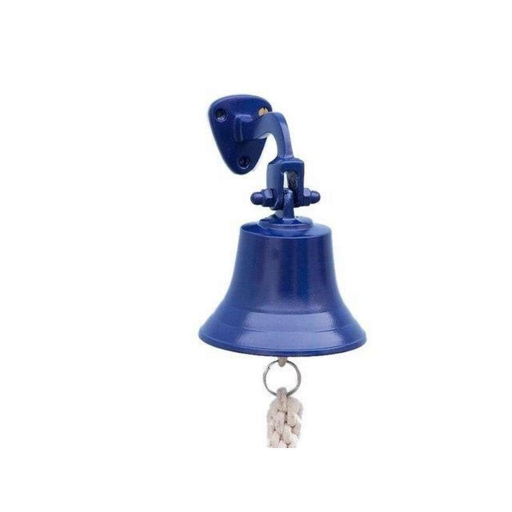 Solid Brass Hanging Ships Bell 6in. - Blue Powder Coated