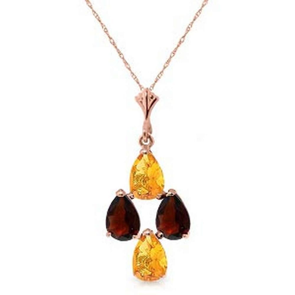 1.5 Carat 14K Solid Rose Gold Autumn Citrine Garnet Necklace