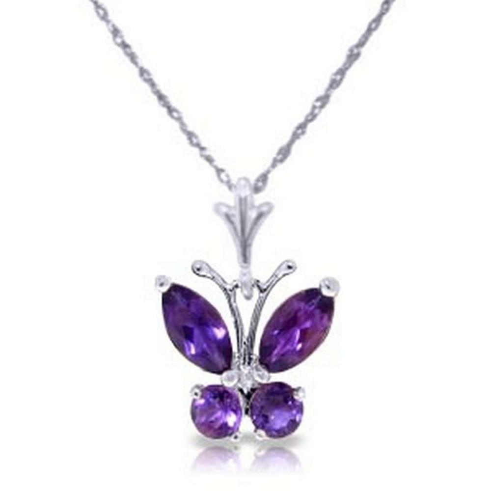0.6 CTW 14K Solid White Gold Butterfly Necklace Purple Amethyst