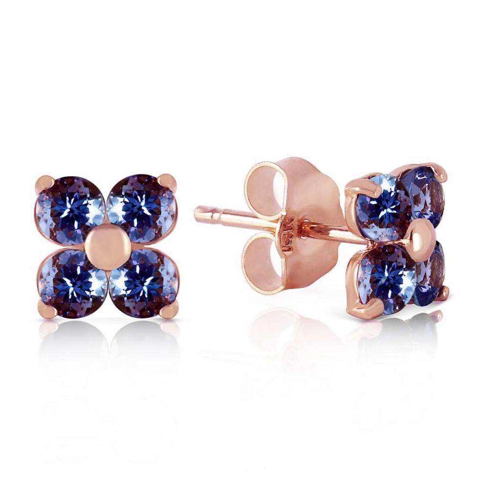 1.15 Carat 14K Solid Rose Gold Stud Earrings Natural Tanzanite
