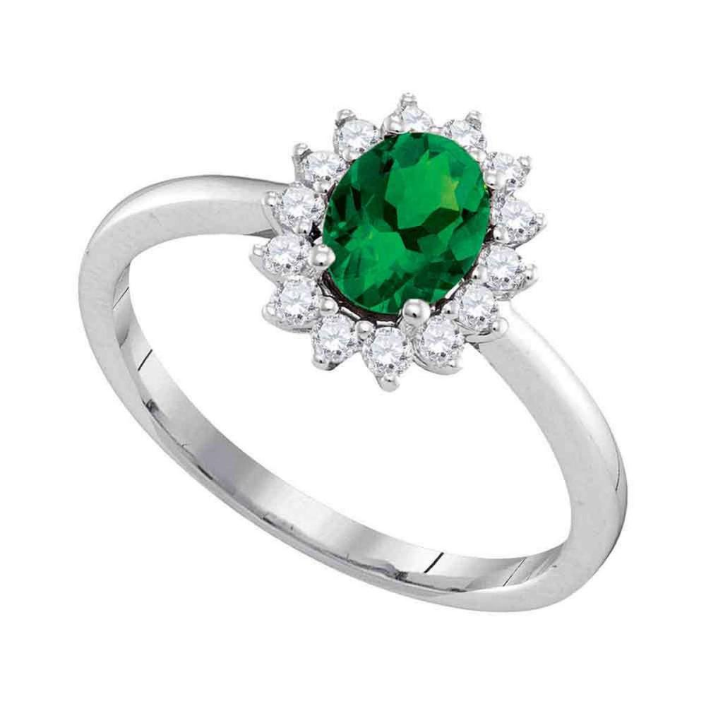 14kt White Gold Womens Oval Emerald Solitaire Diamond Ring 7/8 Cttw
