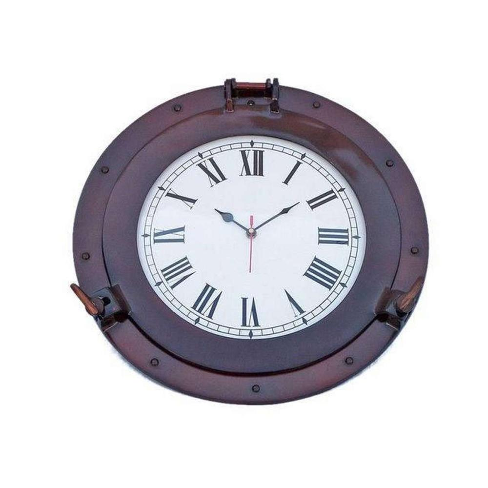 Antique Copper Deluxe Class Porthole Clock 15in.