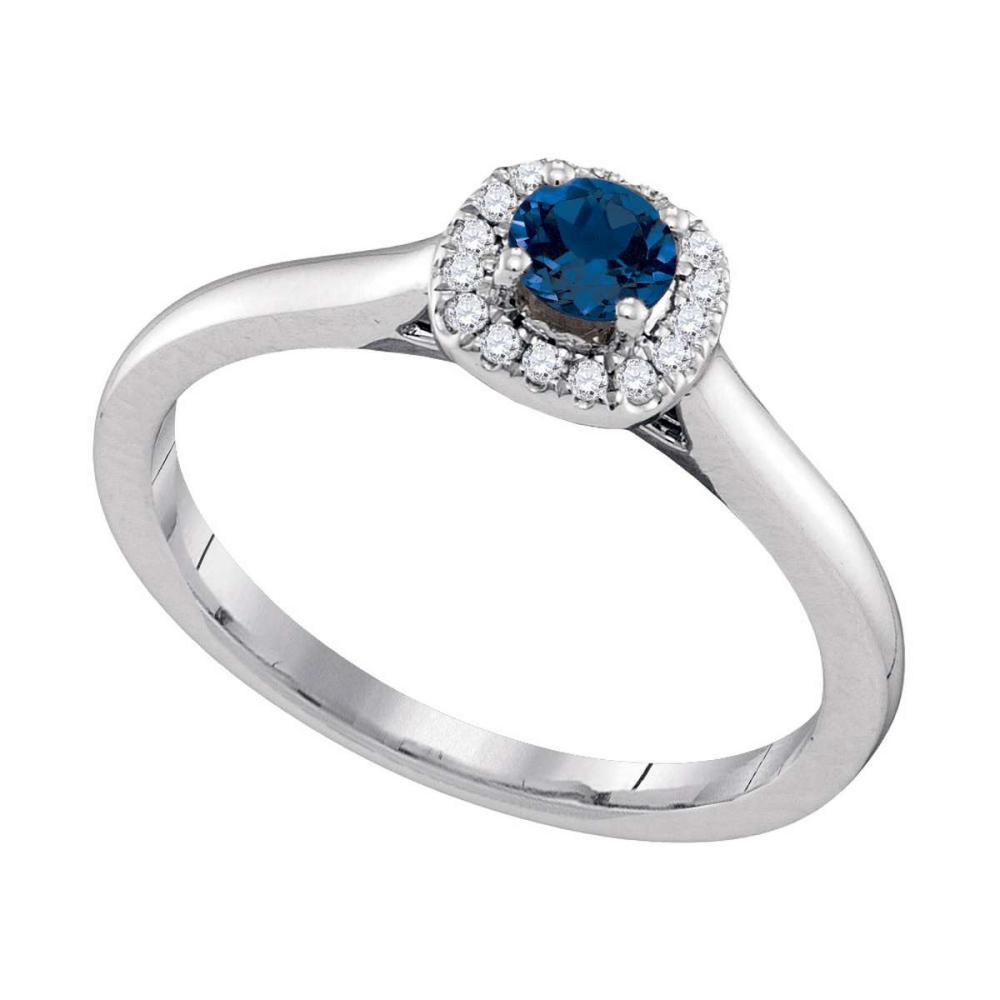 14k White Gold Round Blue Sapphire Solitaire Diamond Halo Bridal Ring 1/12 Cttw
