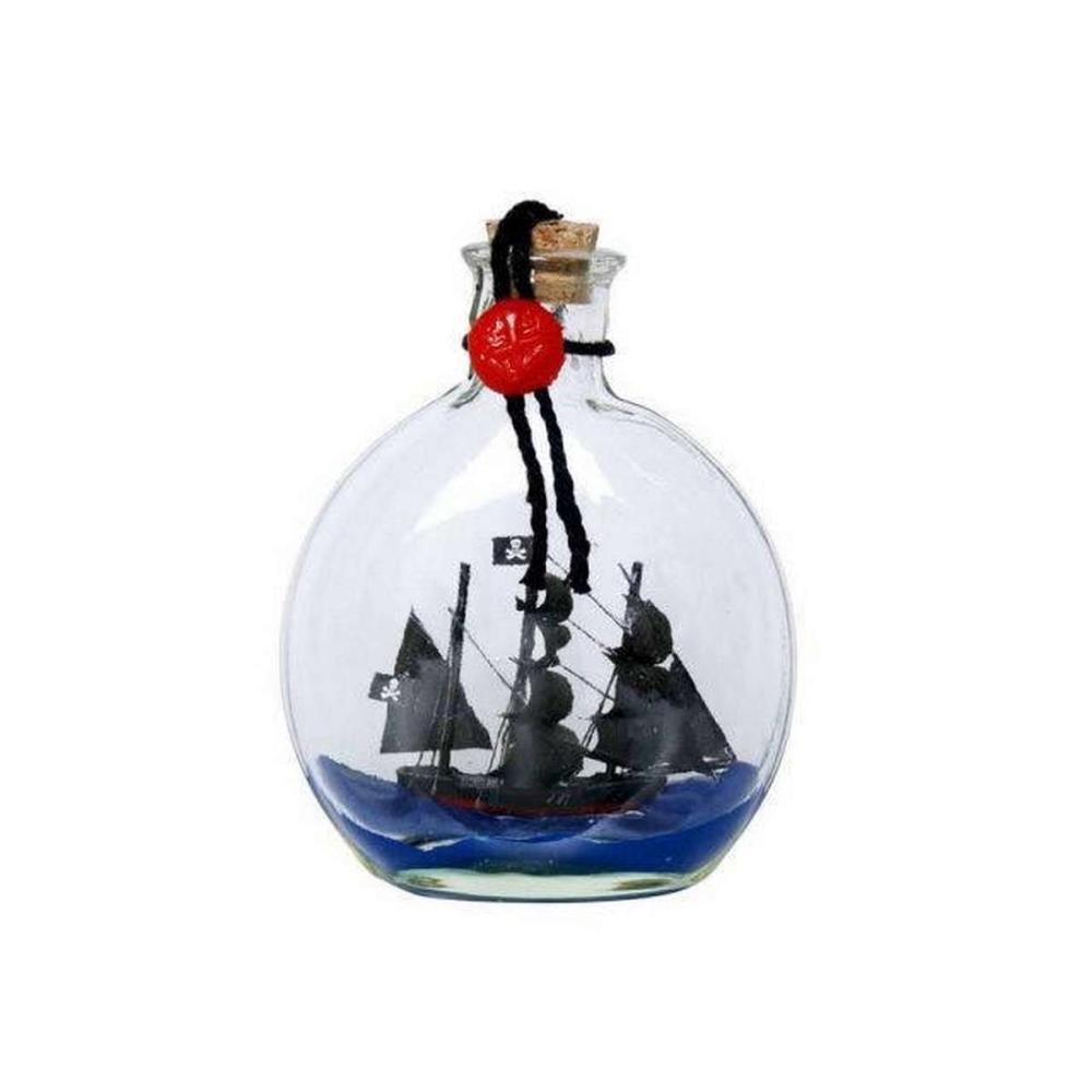 Black Pearl Model Ship in a Glass Bottle 4in.