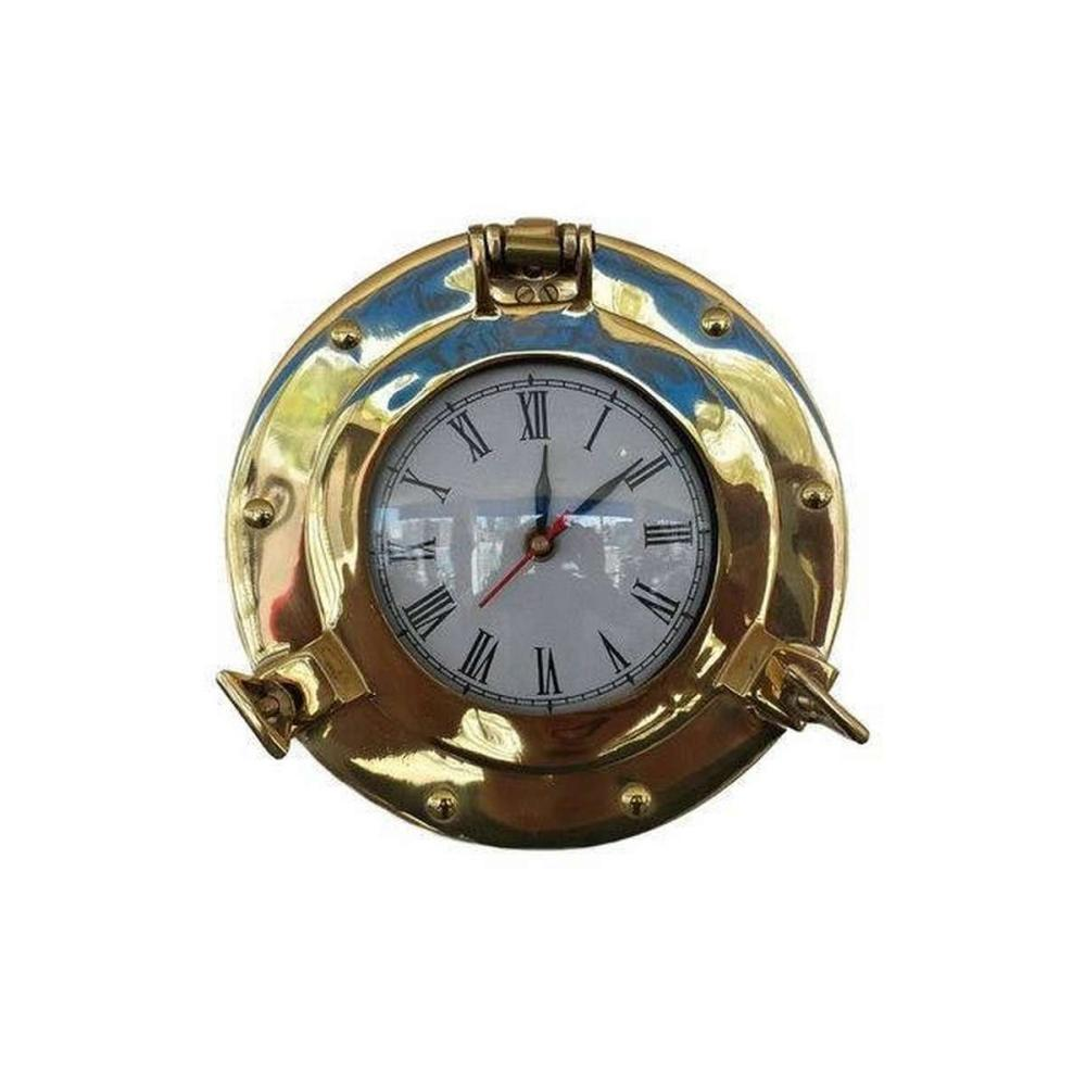 Brass Deluxe Class Porthole Clock 8in.