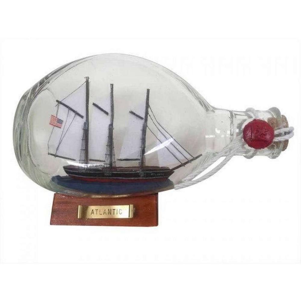 Atlantic Sailboat in a Glass Bottle 7in.