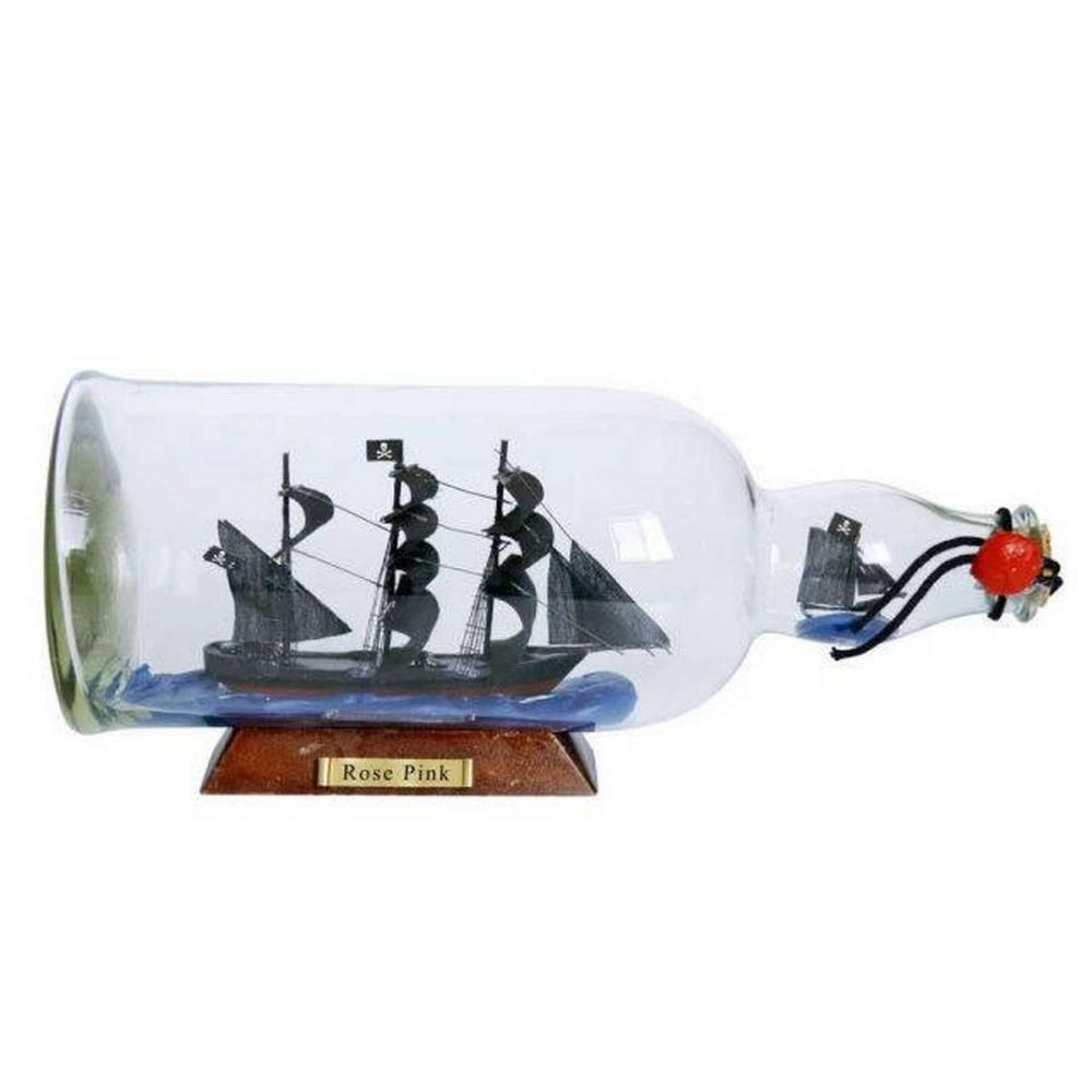 Ed Lows Rose Pink Model Ship in a Glass Bottle 11in.