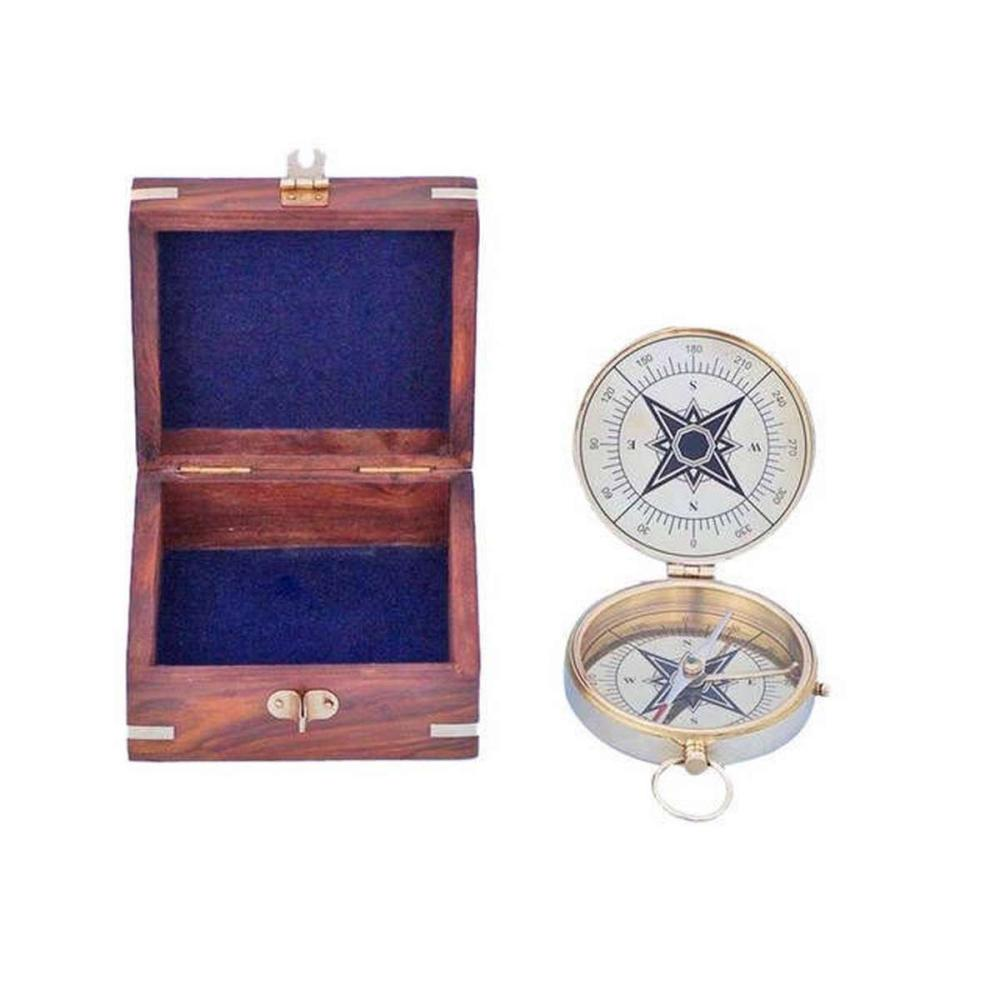 Solid Brass Emerson Poem Compass 4in. w/ Rosewood Box