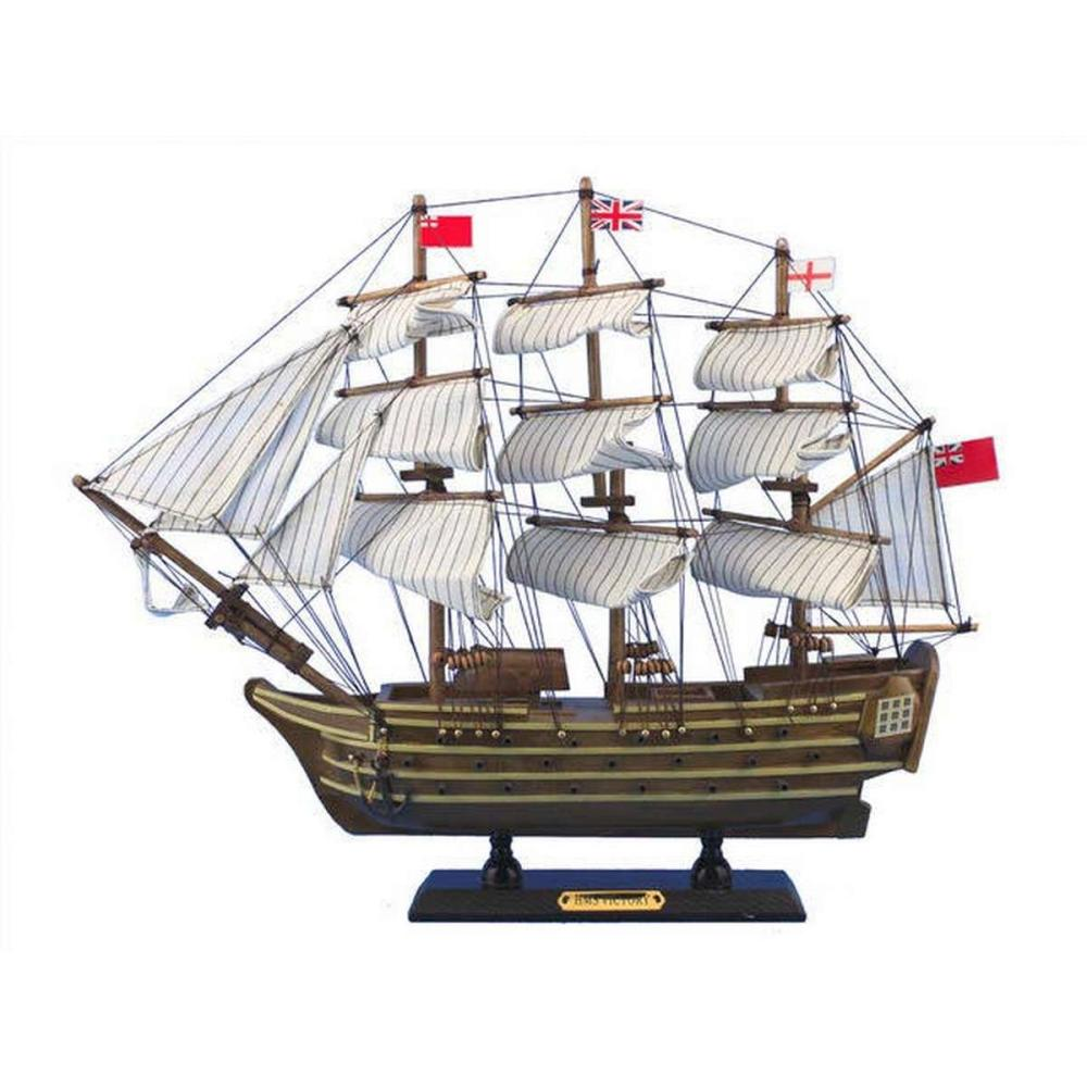 Wooden HMS Victory Tall Model Ship 14in.