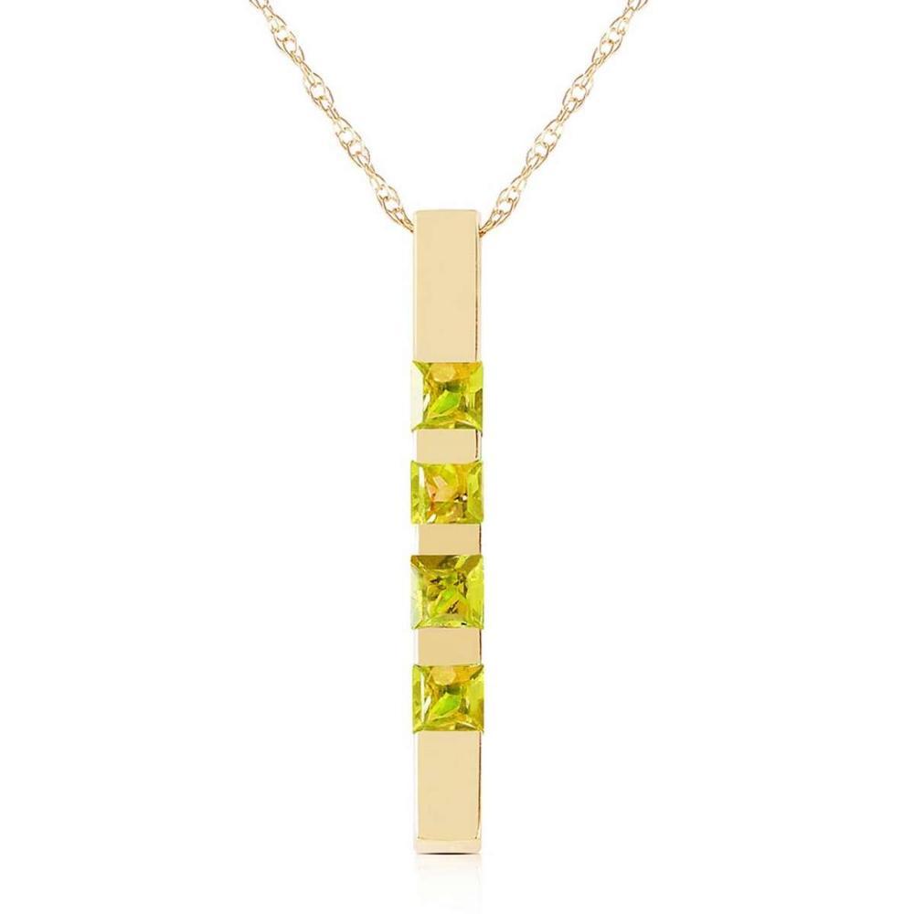 0.35 CTW 14K Solid Gold Necklace Bar Natural Peridot
