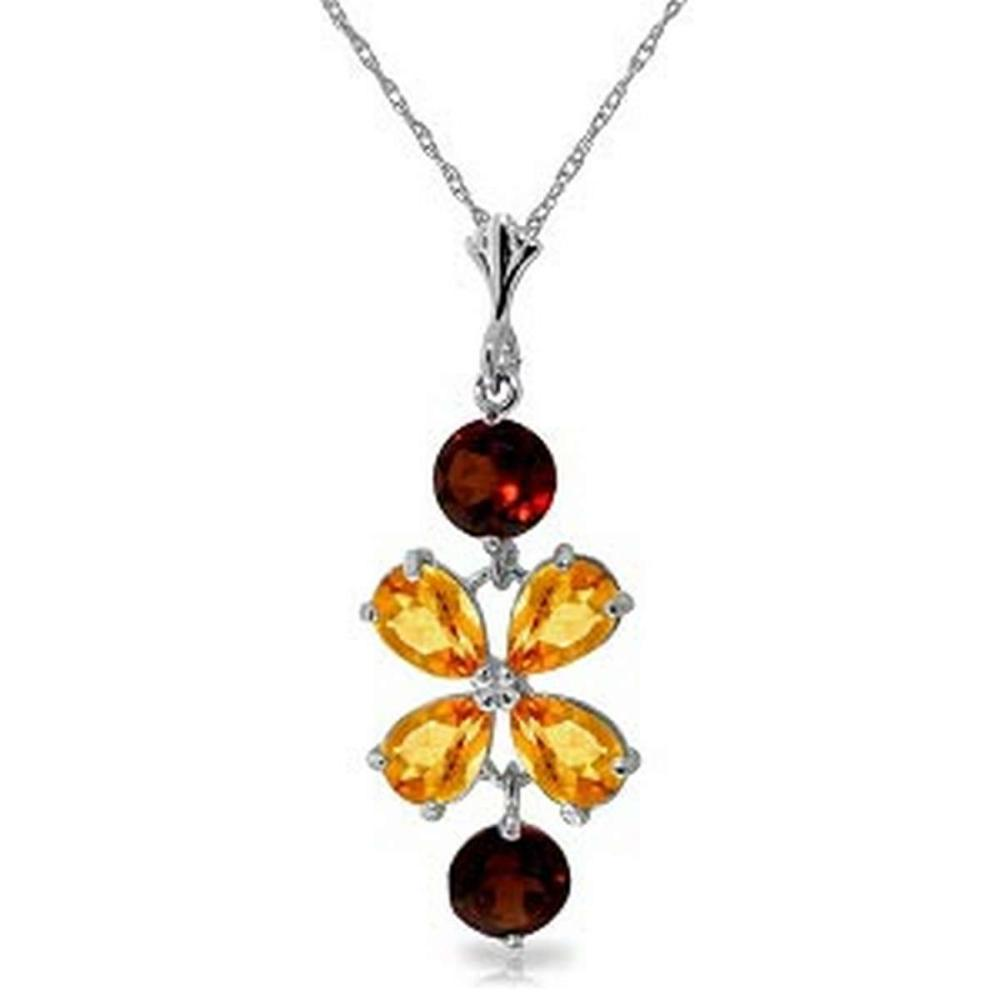 3.15 CTW 14K Solid White Gold Necklace Citrine Garneters