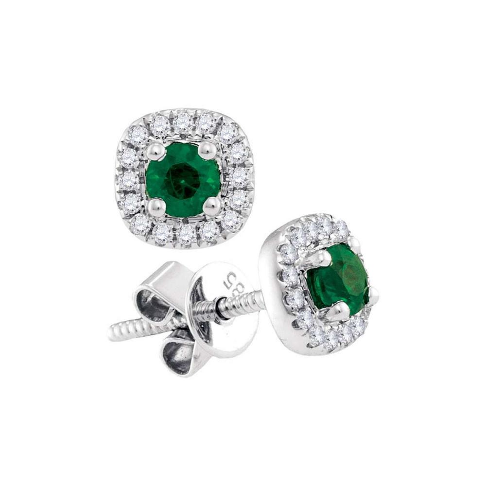 14k White Gold Round Emerald Solitaire Diamond Frame Screwback Earrings 1/2