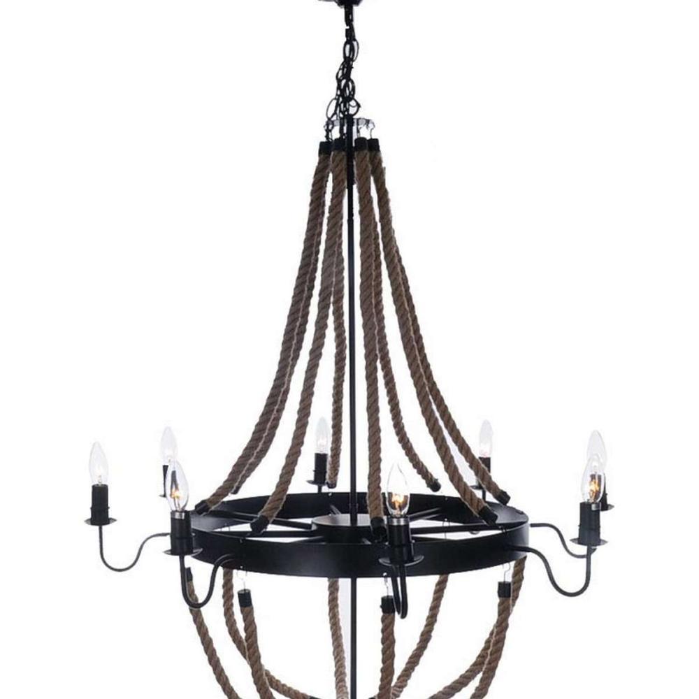 Large Rope Pendant Lamp - 8 Bulbs
