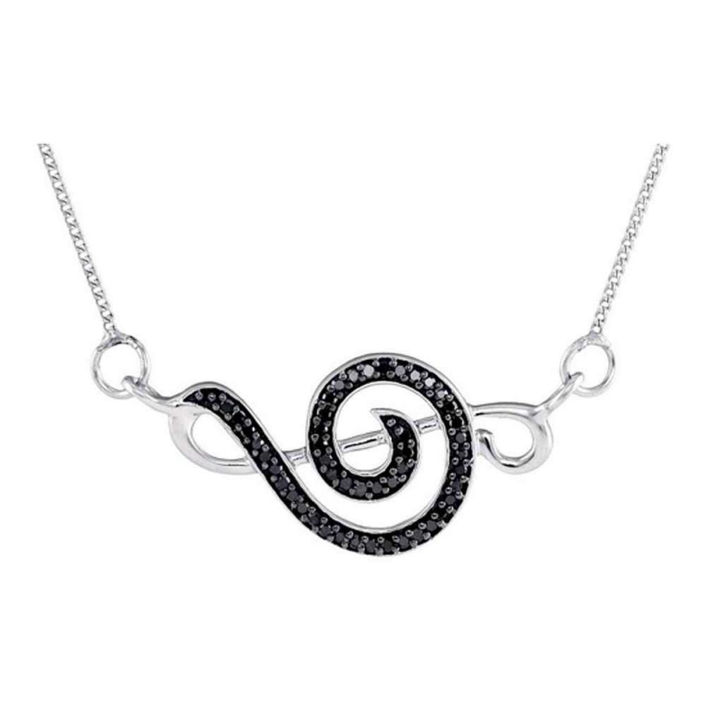 Sterling Silver Womens Round Black Colored Diamond Treble Clef Pendant Necklace