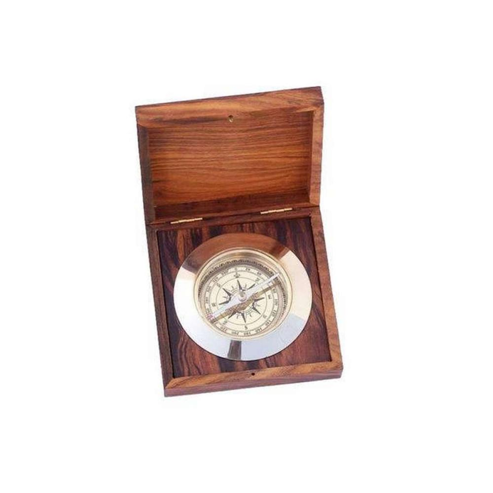Solid Brass Admirals Desk Compass w/ Rosewood Box 5in.
