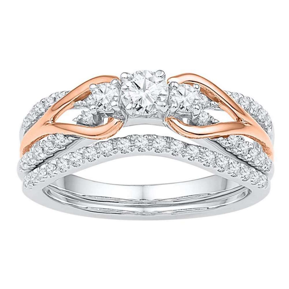 14k White Gold 3-stone Diamond Bridal Wedding Engagement Knot Ring Set 5/8 Ctw