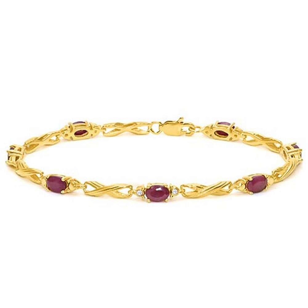 4.05 CTW RUBY 925 STERLING SILVER YELLOW GOLD PLATED BRACELETT