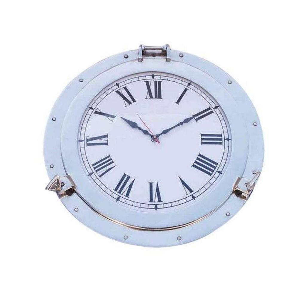 Chrome Decorative Ship Porthole Clock 17in.