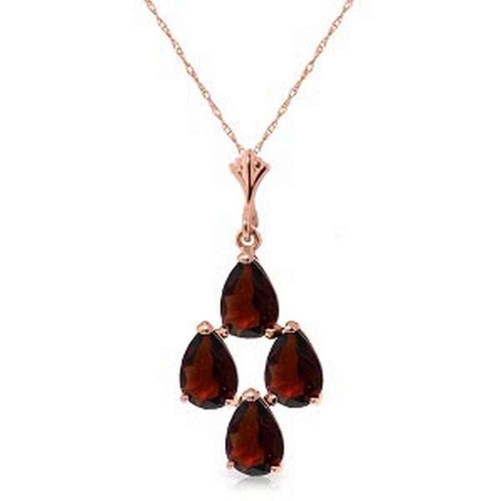 1.5 Carat 14K Solid Rose Gold Necklace Natural Garnet