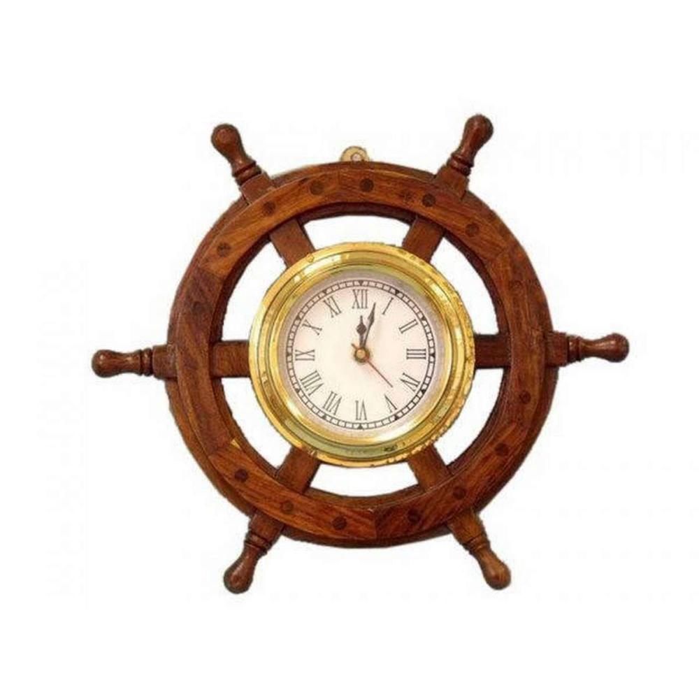 Deluxe Class Wood And Brass Ship Wheel Clock 12in.