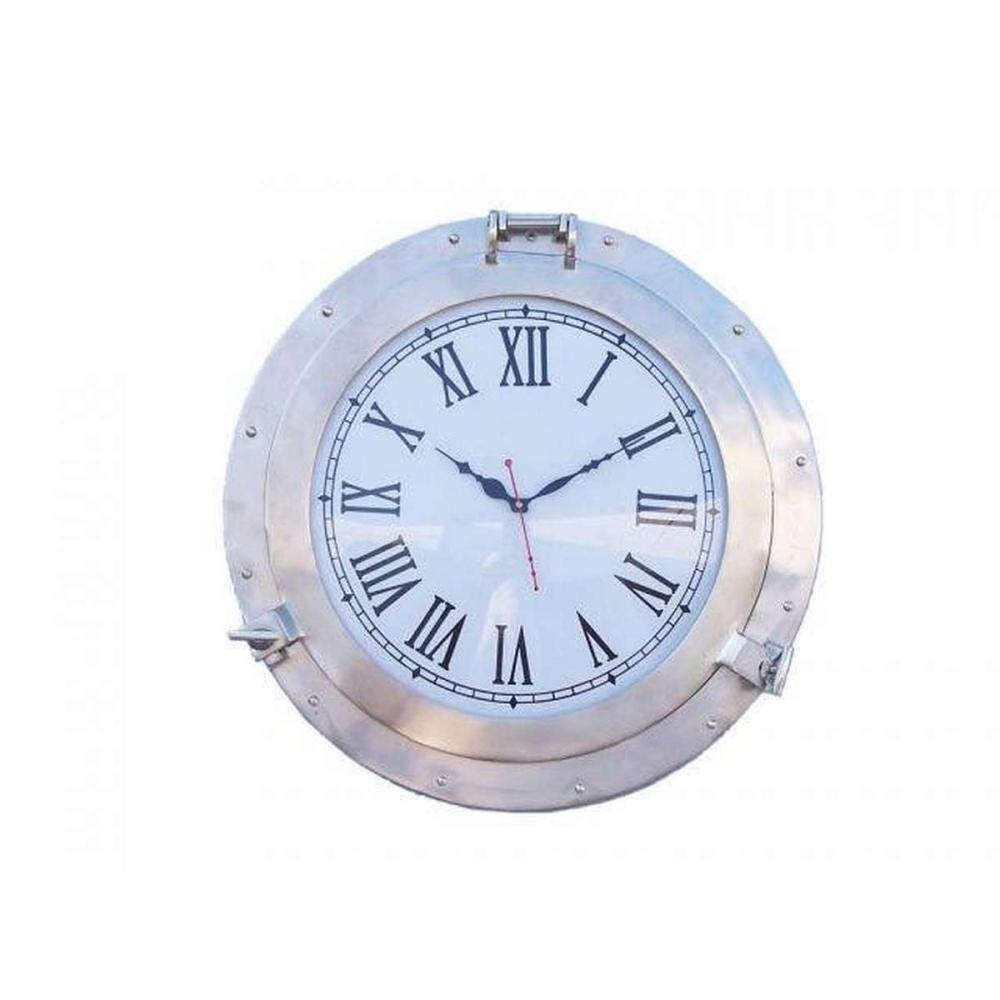 Brushed Nickel Deluxe Class Porthole Clock 20in.