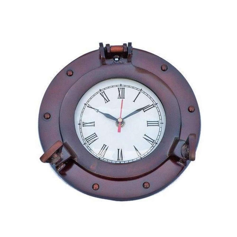 Antique Copper Deluxe Class Porthole Clock 8in.