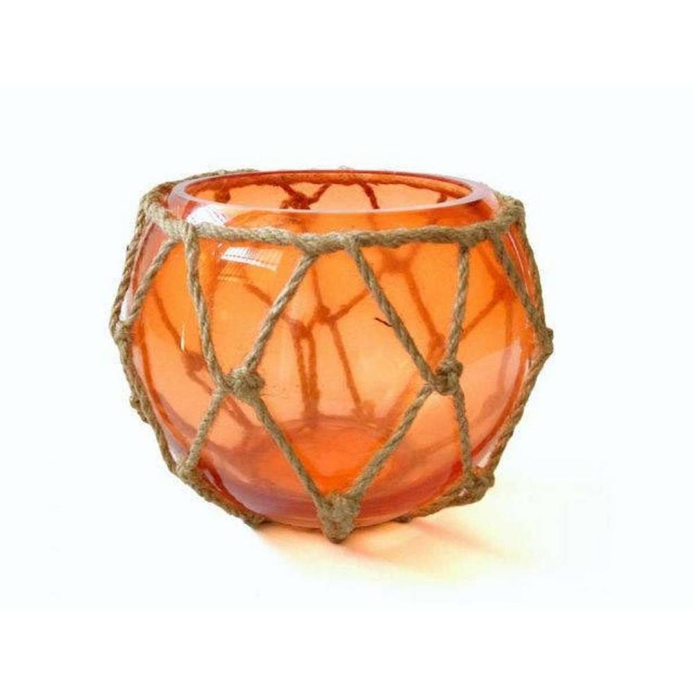 Orange Japanese Glass Fishing Float Bowl with Decorative Brown Fish Netting 6in.