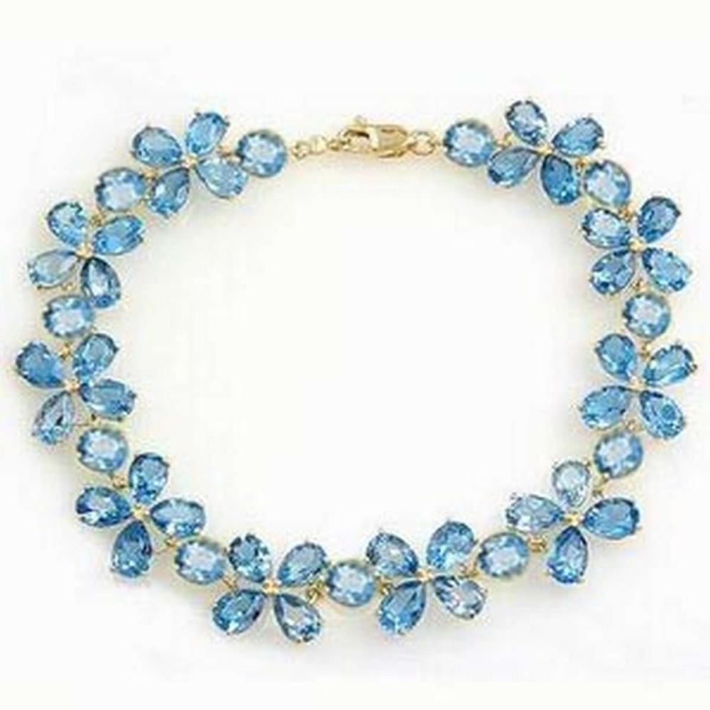 20.7 CTW 14K Solid White Gold Bracelets Natural Blue Topaz