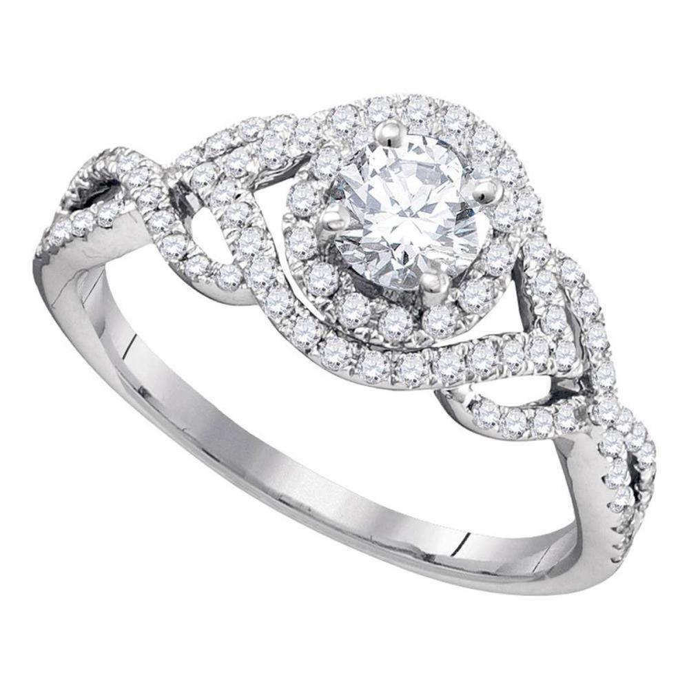 14k White Gold Round Diamond Solitaire Bridal Wedding Engagement Ring 7/8 Ctw