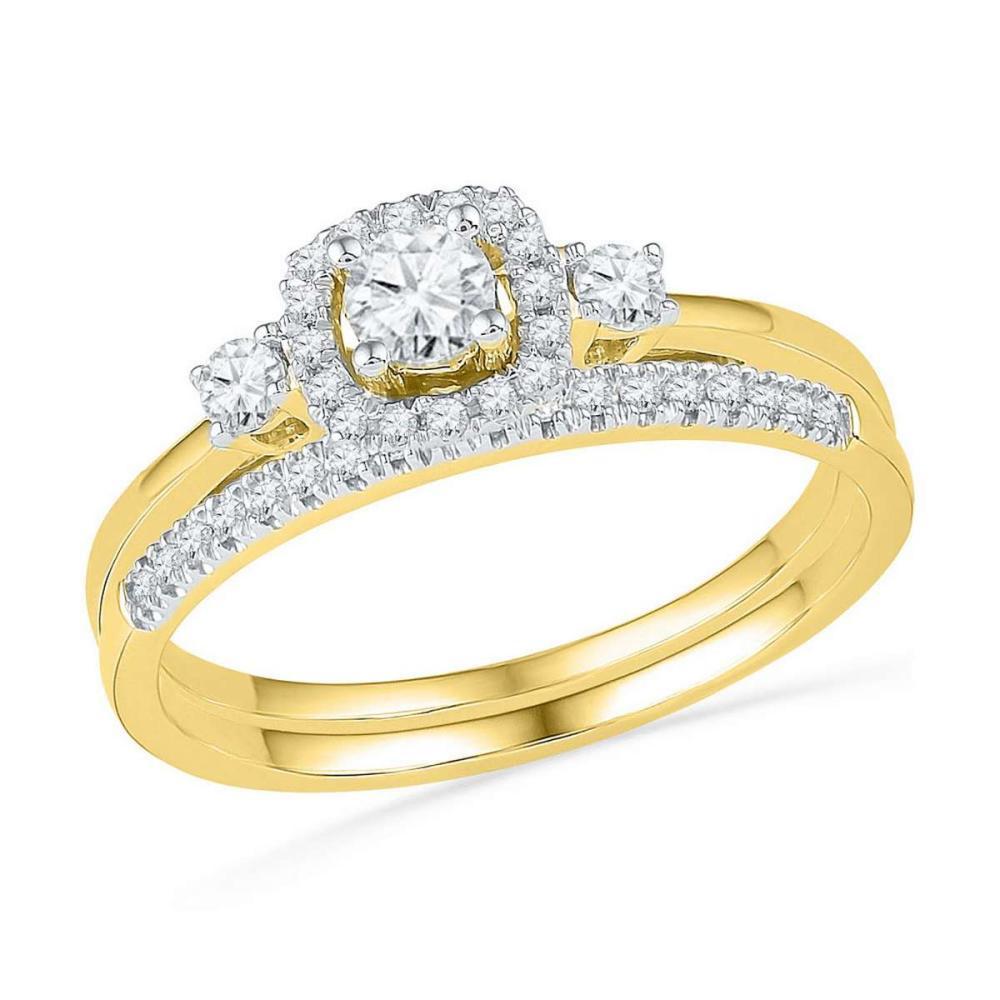 10k Yellow Gold Round Diamond Halo Bridal Wedding Engagement Ring Set 1/2 Cttw
