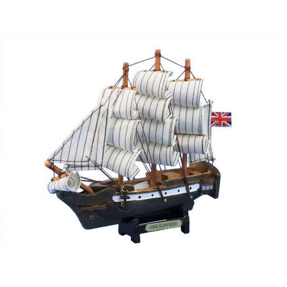 Wooden Master And Commander HMS Surprise Tall Model Ship 7in.