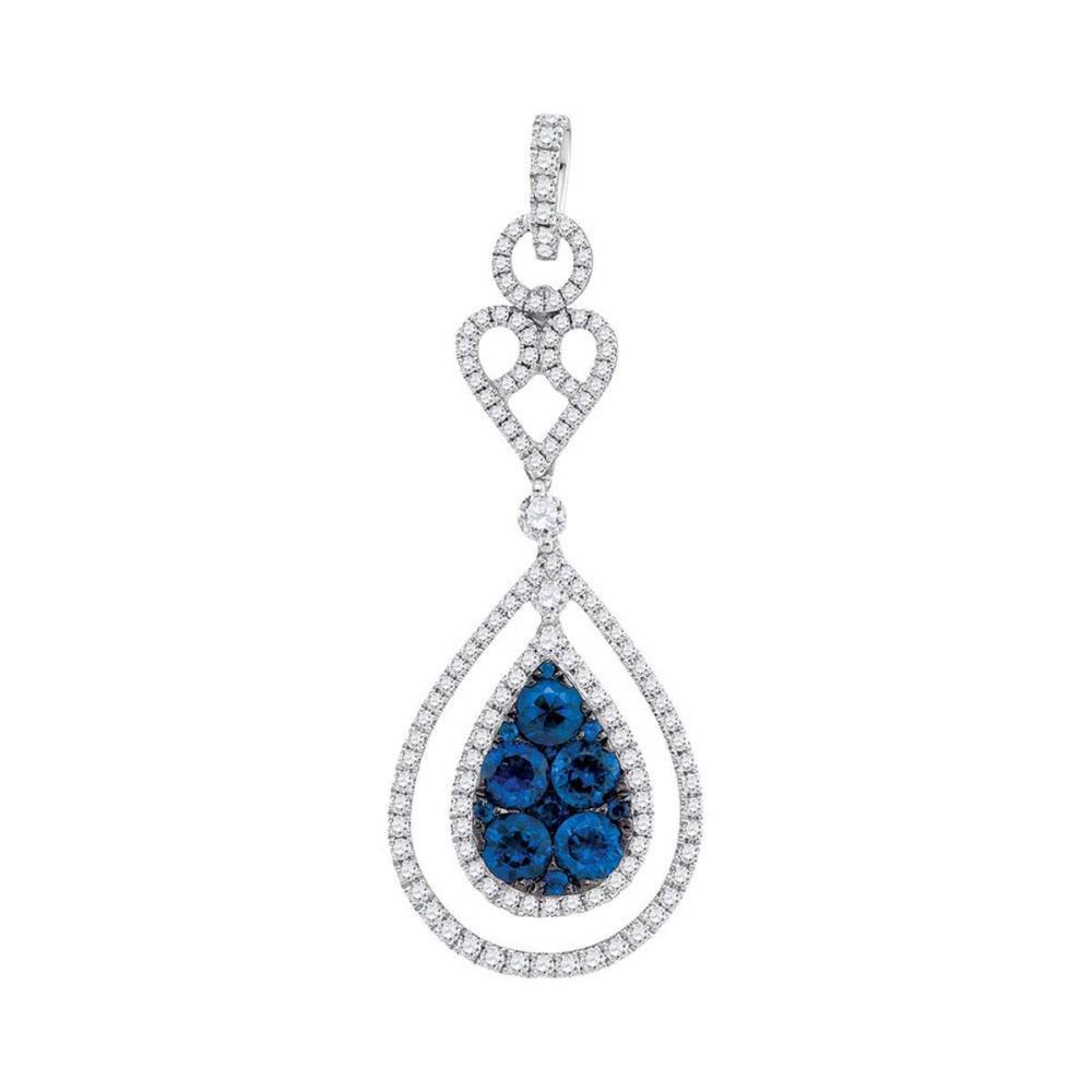 14k White Gold Womens Round Blue Sapphire Teardrop Diamond Frame Pendant 3/4