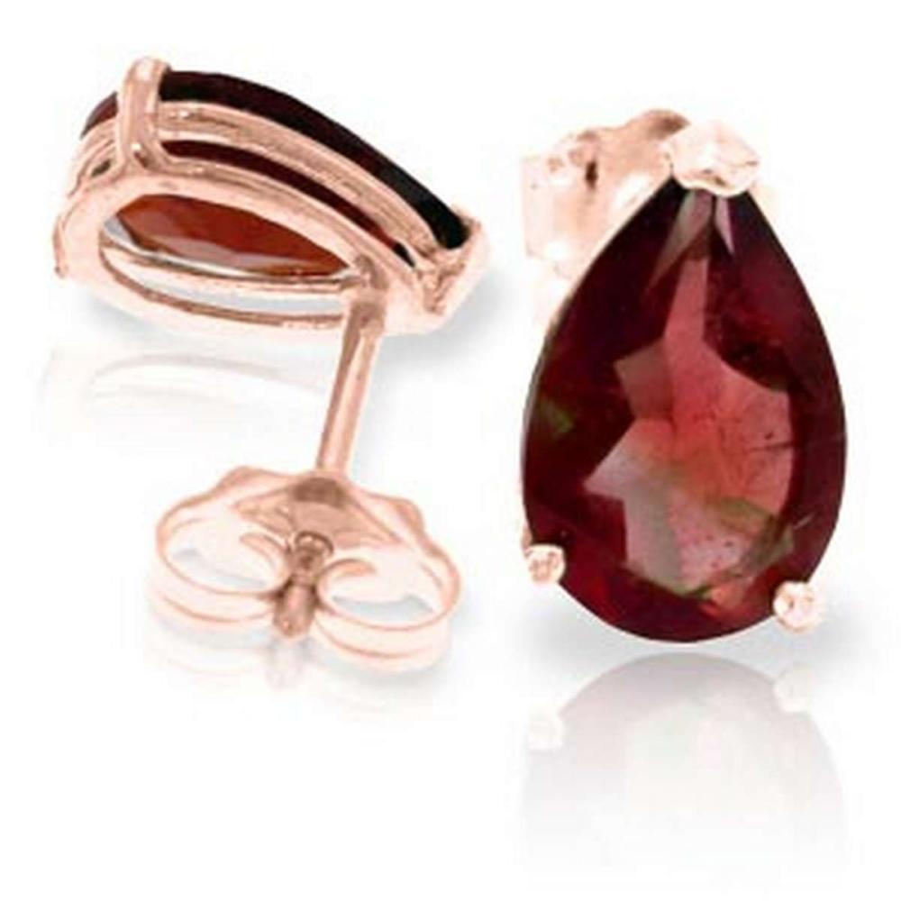 3.15 CTW 14K Solid Rose Gold Stud Earrings Natural Garnet