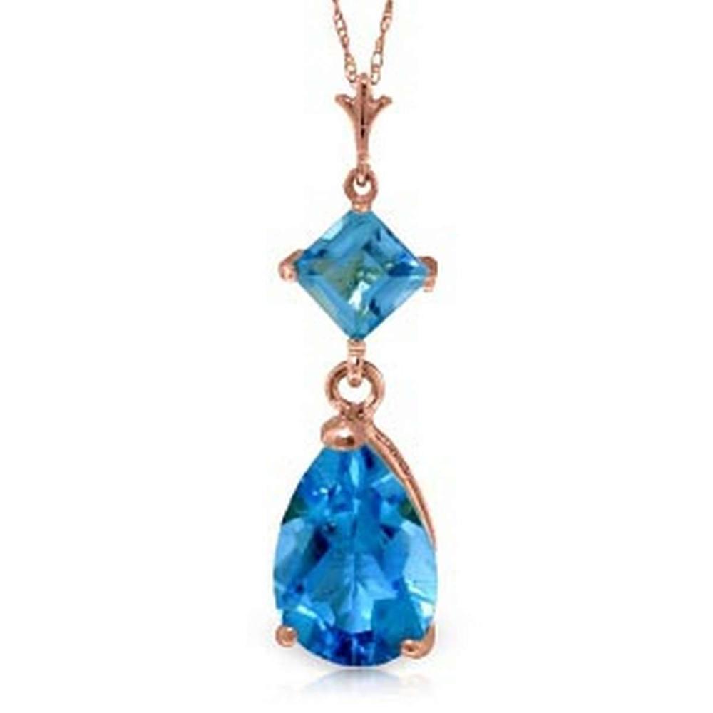 2 Carat 14K Solid Rose Gold Laughter Blue Topaz Necklace