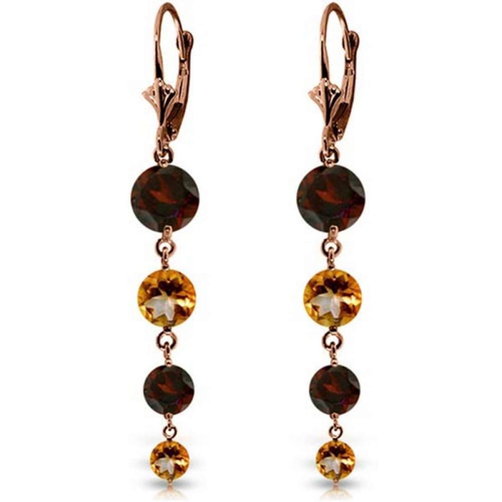 7.8 Carat 14K Solid Rose Gold Chandelier Garnet Citrine Earrings