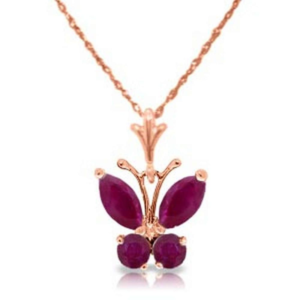 0.6 Carat 14K Solid Rose Gold Butterfly Necklace Natural Ruby