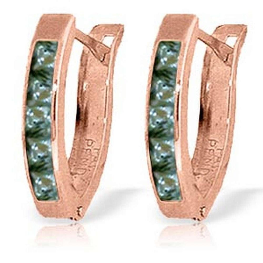 1.3 Carat 14K Solid Rose Gold Huggie Earrings Green Natural Sapphire