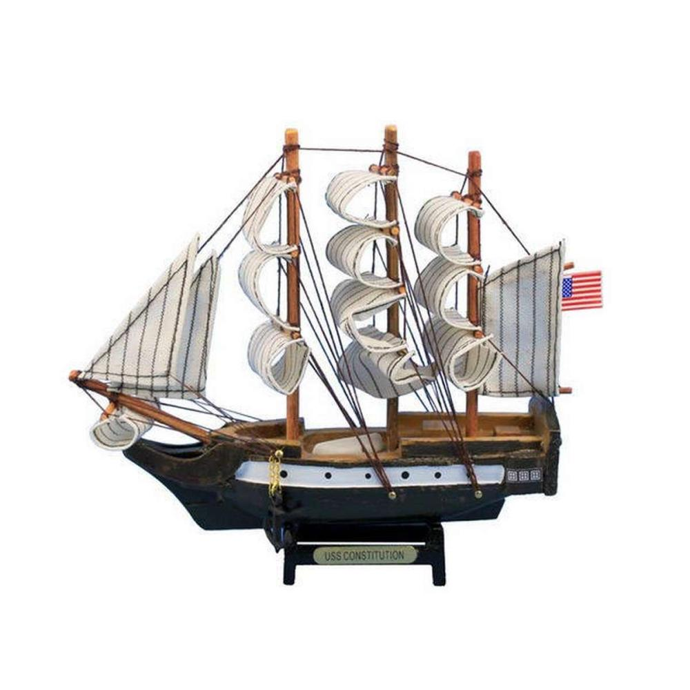 Wooden USS Constitution Tall Model Ship 7in.