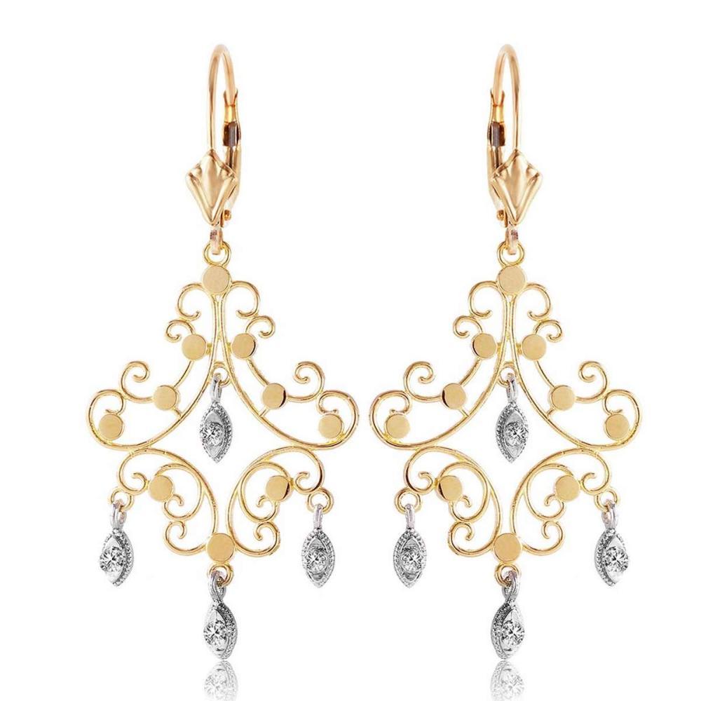 0.04 Carat 14K Solid Gold Chandelier Diamond Earrings