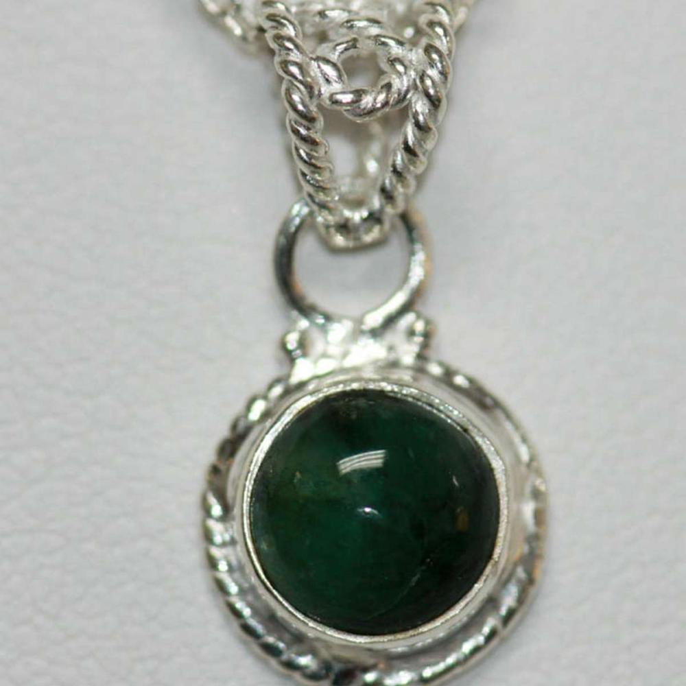 NATURAL EMERALD PENDANT 0.90 CTW .925 STERLING SILVER