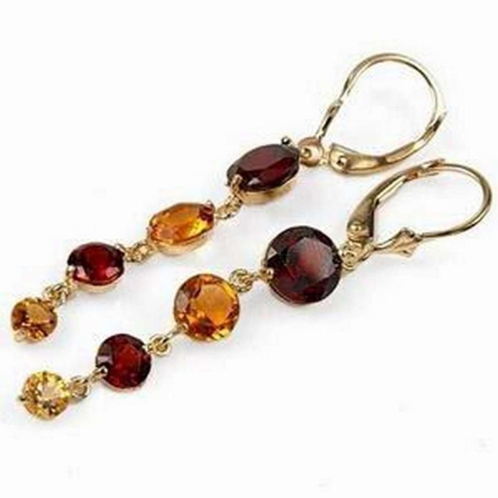 7.8 Carat 14K Solid White Gold Watching You Laugh Garnet Citrine Earrings