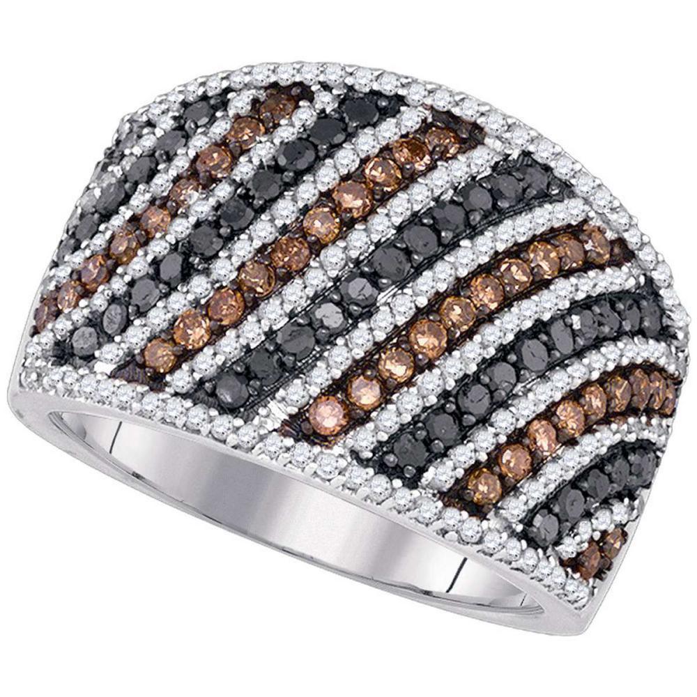 10k White Gold Womens Round Black Brown Color Enhanced Diamond Stripe Band Ring