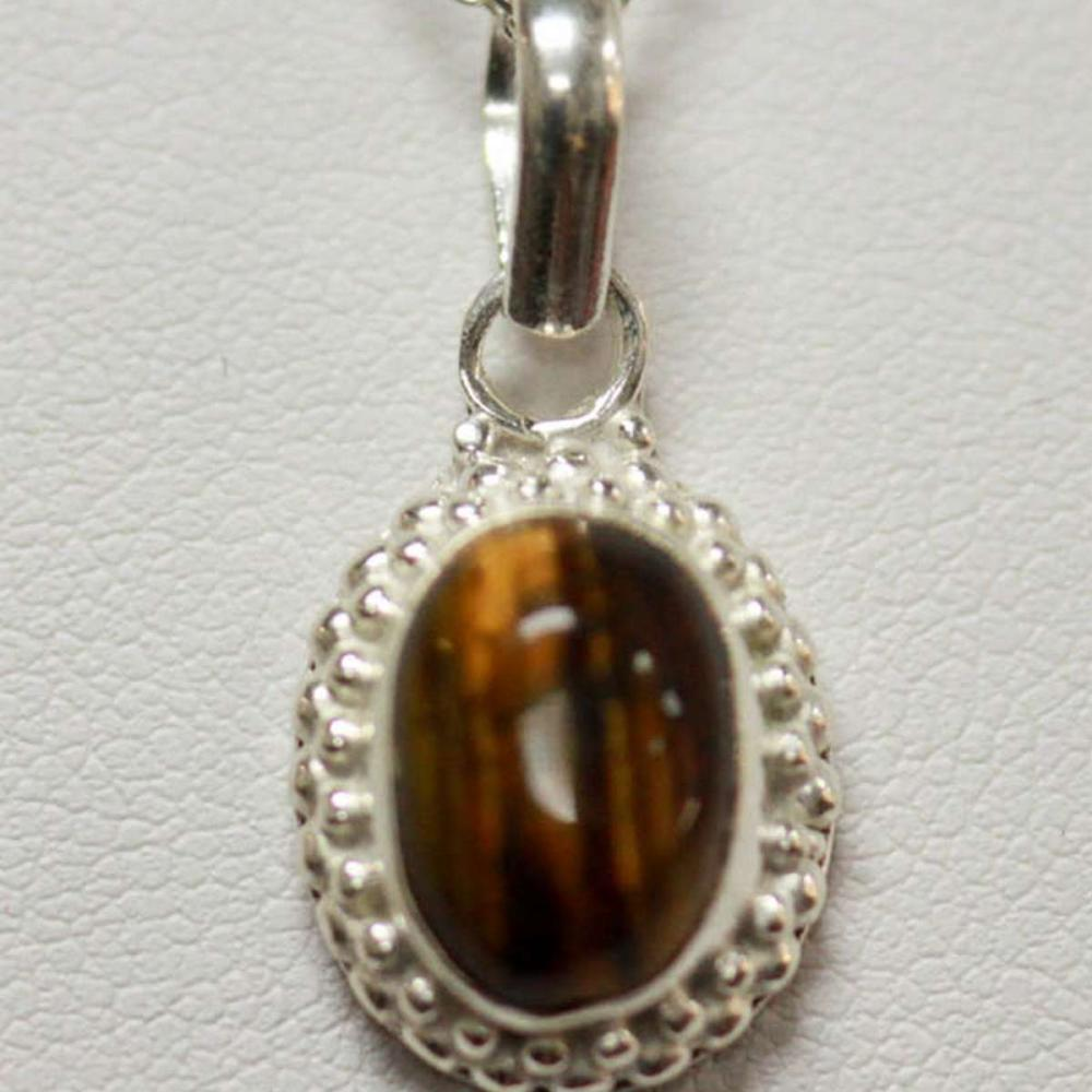NATURAL TIGER EYE PENDANT 2.10 CTW .925 STERLING SILVER