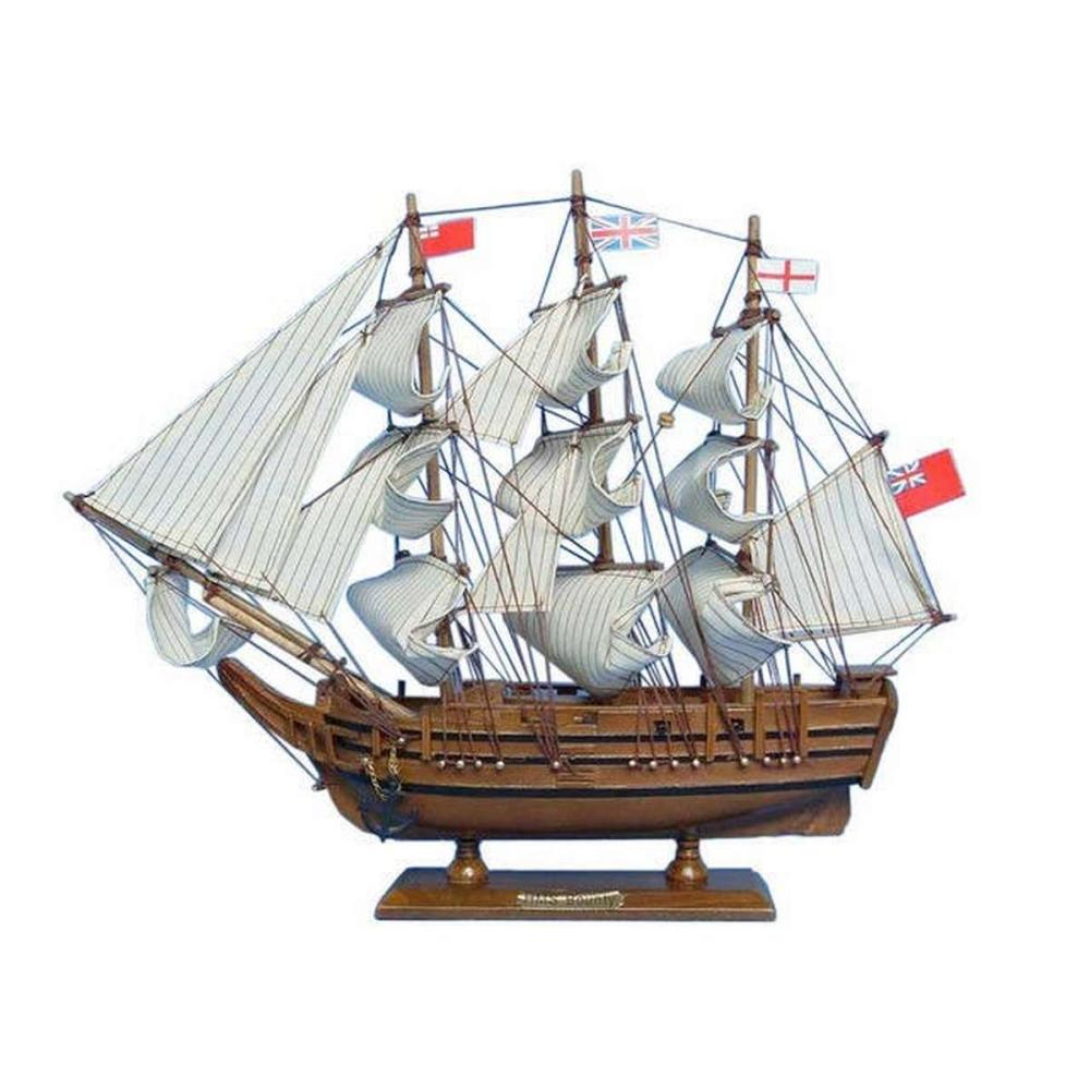 Wooden HMS Bounty Tall Model Ship 15in.