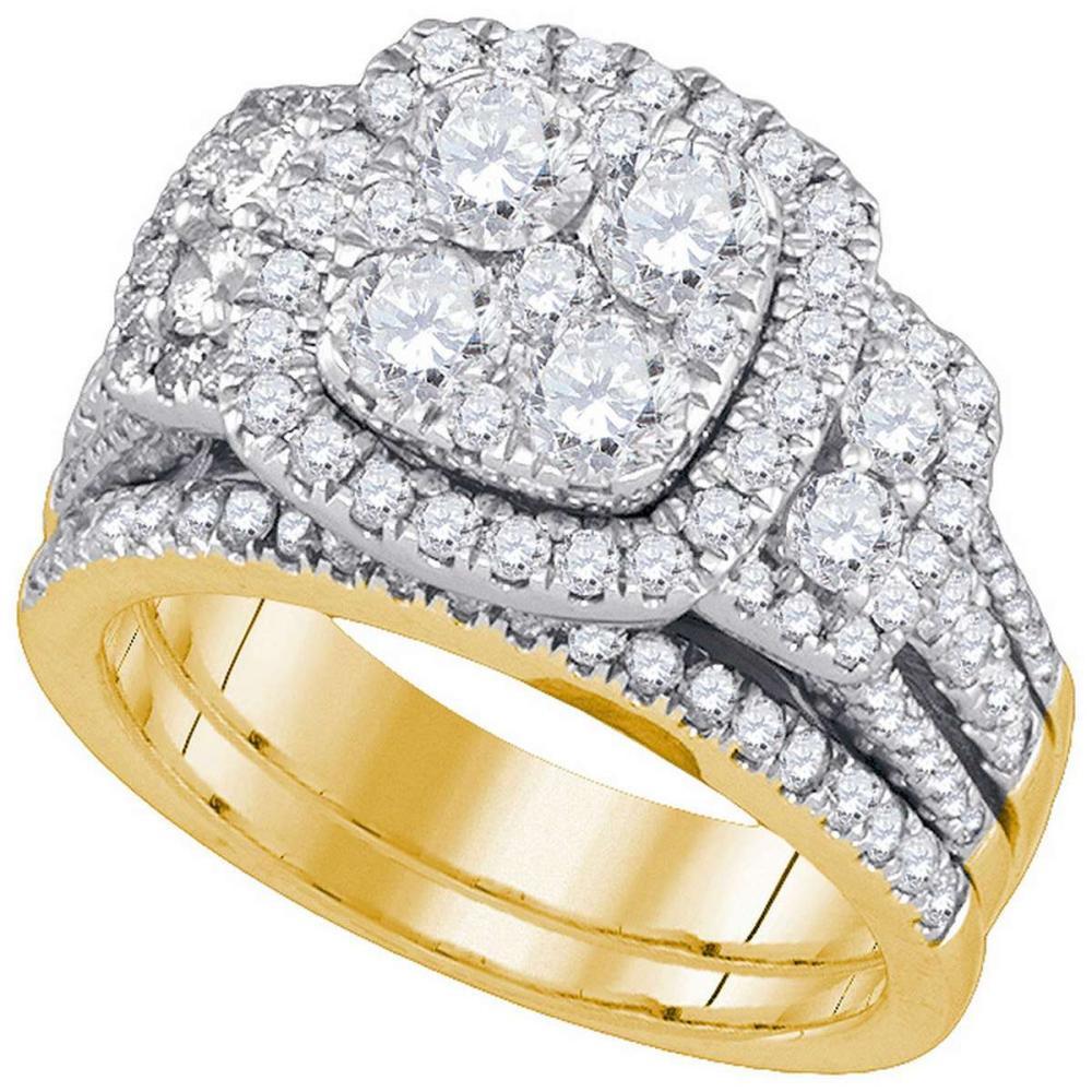 14kt Yellow Gold Round Diamond Bridal Wedding Engagement Ring Band Set 3.00 Ctw