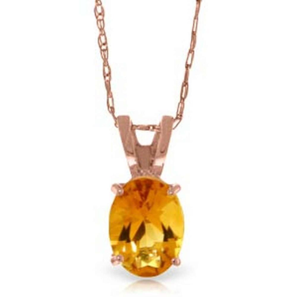 0.85 Carat 14K Solid Rose Gold Solitaire Citrine Necklace