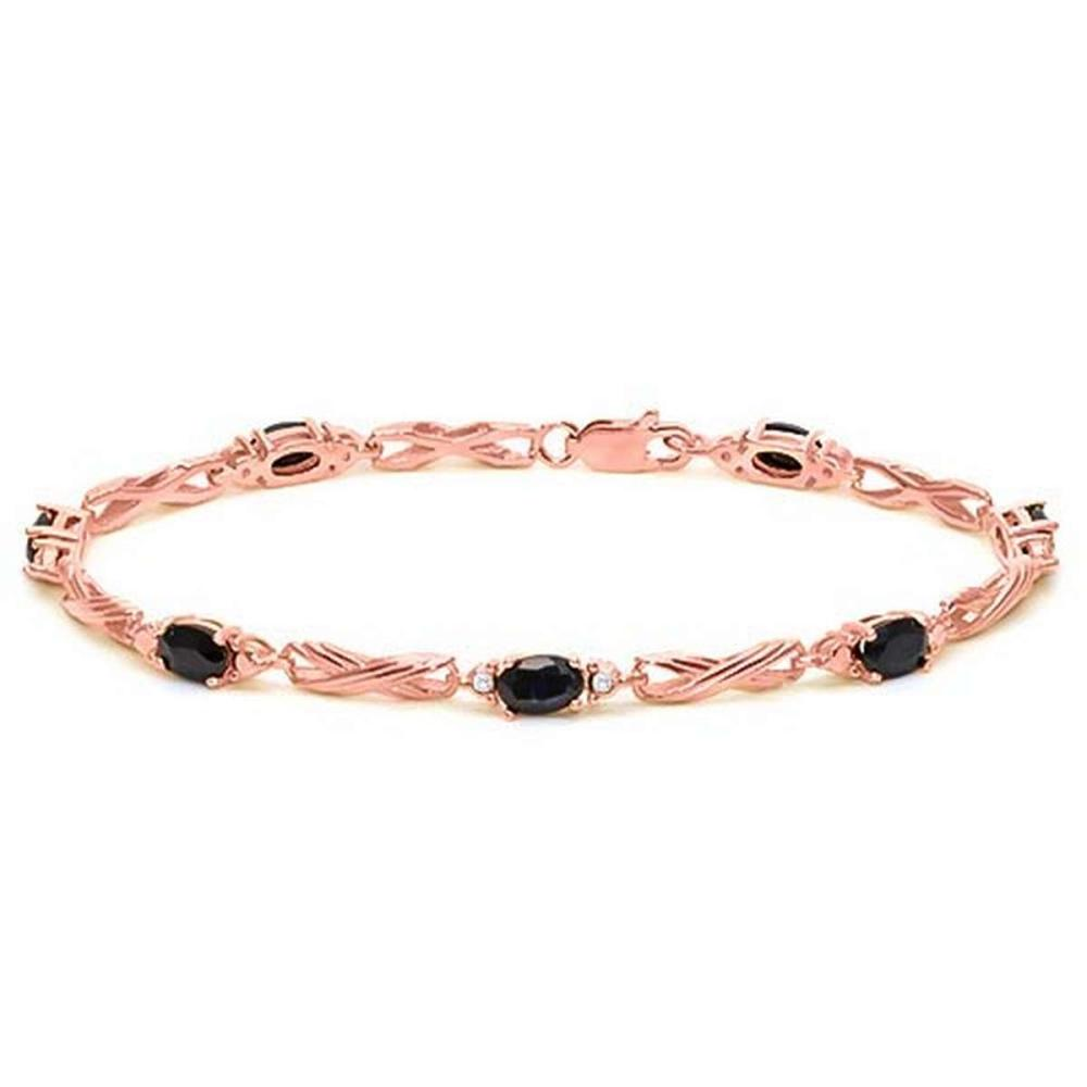 4.12 CTW MID NIGHT BLACK SAPPHIRE 925 STERLING SILVER RED GOLD PLATED BRACELETT