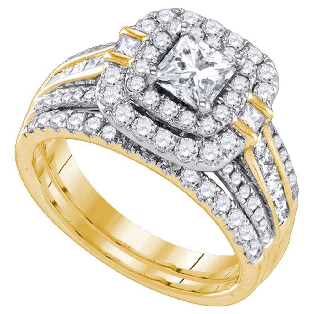 14k Yellow Gold Princess Diamond Double Halo Bridal Wedding Engagement Ring Set